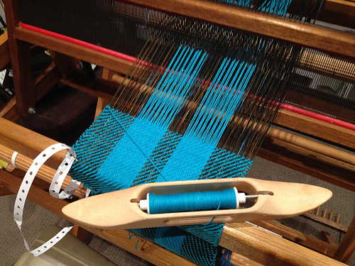 Sally T's first scarf on the loom.